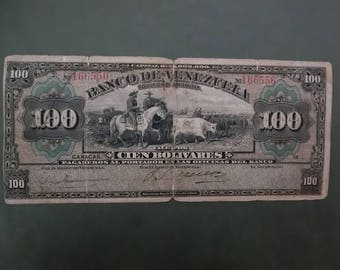 100 Bolivares banknote collection