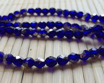 6 mm Czech glass fire polished faceted cobalt-silver two-toned beads, 50 beads