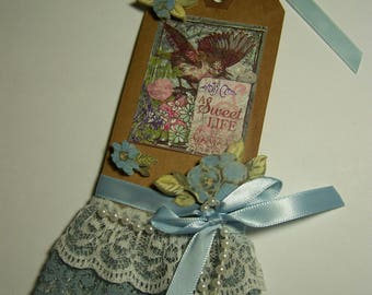 Vintage tag. Lace tag, Blue tag