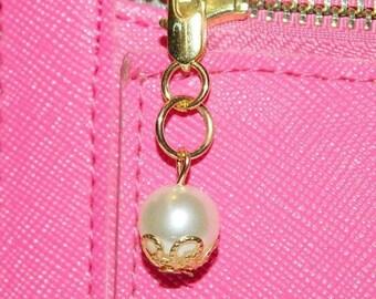 Gold Zipper Pull, Pearl Zipper Pull, Zipper Pull For Wallet,Small Zipper Pull