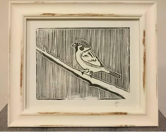 Sparrow on Branch - A4 Linocut Print