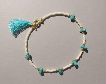 Real turquoise tassel bracelet