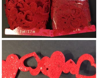 2 packs red heart felt trim with glitter and sequences