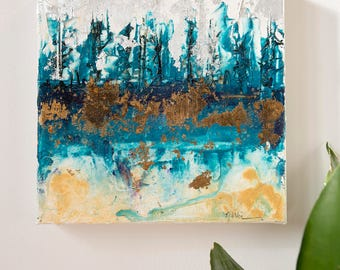 Abstract Acrylic Original Painting. Blue Forest
