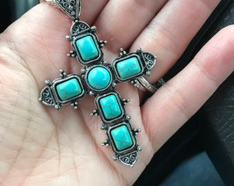 Turquose cross necklace with silver chain