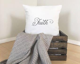 "Faith   Canvas Drop Cloth   18""x18"" PILLOW COVER"