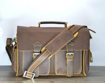 New Shop Promotion 15% OFF Crazy Horse Leather Messenger Bag, Men's Messenger Bag, Men's Briefcase  P10886