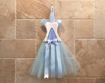 Princess Blue Silver Dress-Tutu Bow Holder
