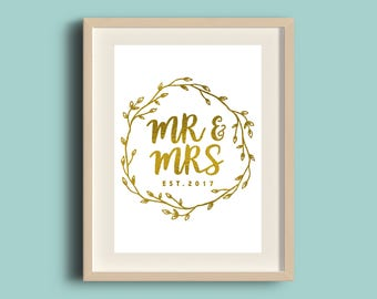 Mr & Mrs Wedding Foil Print, Handmade, A4 Print, Gold Silver Copper Foil, Wall Art, Desk Decor, Typographic Sign