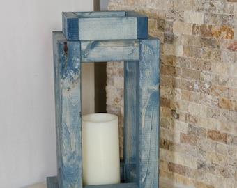 Rustic Wooden Lantern Indoor/Outdoor - Medium - Pick your color