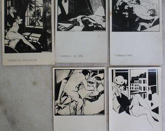 Art Nouveau erotica women S. Vidbergs postcards. Not used. Set of 9.