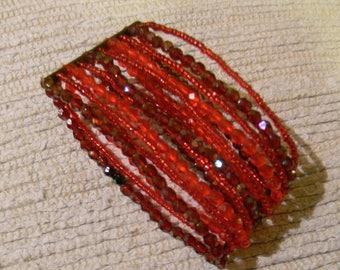 Multi-String Red Cuff Bracelet