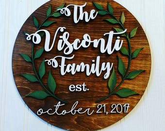 Custom wood circle cut name sign family leaves rustic wedding anniversary shower invitations housewarming gift