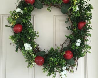 Greens and apple wreath