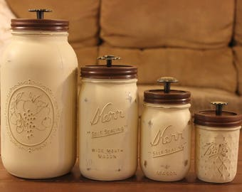 Hand Painted Ivory Mason Jar Set With Unique Door Knob Handles // Gifts For