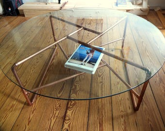 Copper and glass coffee table