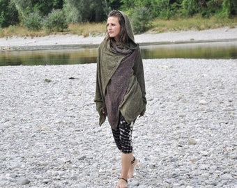 Cardigan, Wrap Jacket (two-ply) with Large Hood and Thumbholes ~ olive green - brown