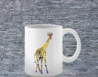 Giraffe Mug- Printed Mug - Ceramic Mug - Art Mug
