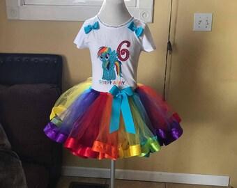 Rainbow dash tutu set, rainbow dash birthday outfit, my little pony tutu set, rainbow dash dress, pony tutu set