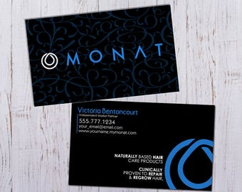 Monat Business Cards - Black Pattern Design - Durable 16pt - Rich Matte Finish -PRINTED and SHIPPED directly to YOU!
