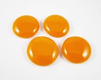 Orange Cabochon Parcel (4) 23 mm Fused Glass Cabochon Round Cabochon Jewellery Pendant Feature Handmade Cabochon