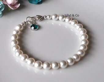 Bracelet with Birthstone Charm, White Crystal Pearl Bracelet with Birthstone, Swarovski Colour Drop ,Heart Lobster Clasp, Channel Drop