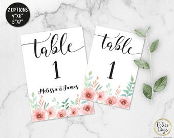 Floral Wedding Table Numbers, Printable Table Numbers, Rustic Table Numbers, DIY Table Numbers Editable, 4x6 5x7, PDF Instant Download FL170