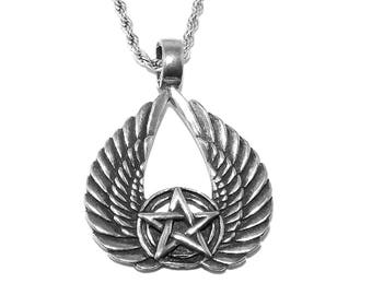 Pentagram Egyptian Isis Wings Pendant Necklace with Chain