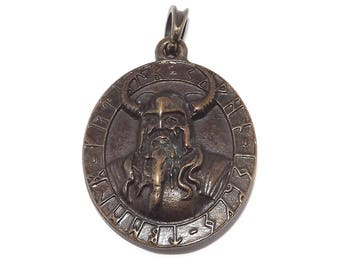 Chunky Odin God Viking Pendant / Necklace (Brass Plated Pewter Ruler of Asgard)