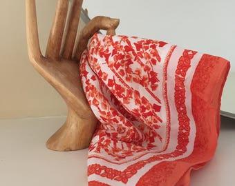 Vintage orange patterned, silk bandana / handkerchief / neck scarf