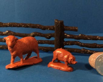Vintage 1950's farm animals (pig and sheep)