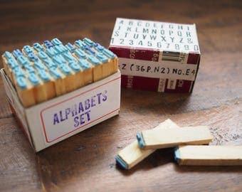 Alphabet + Number _a Vintage Rubber Stamp Set