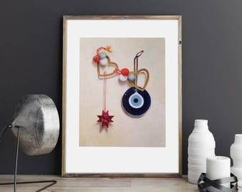 Wall Art Print Evil Eye Still Life, Origami, Hearts
