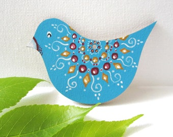 Wooden Brooch, Bird Brooch, Hand painted Brooch, Jewelry, Accessory