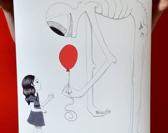 The Shadow, Girl & Red Balloon, Art Print, Poster