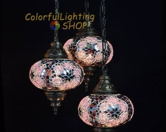 Turkish mosaic 3 globe chandelier, Turkish lamp, Mosaic Lamp, Hanging Style, Morrocan decor, Ottoman Light, Stunning handcraft globe glass