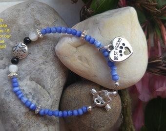 Blue cats eye heart paw print best friend beaded Bracelet. Original design.   Blue white, minimalist, Rescue Dog Cat lovers bracelet.