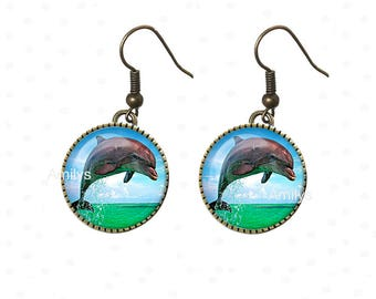 Earrings personnalsies dolphins cabochon, blue, sea, Atlantic ocean
