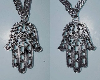 Double sided mens hamsa silver tone pendant with chain