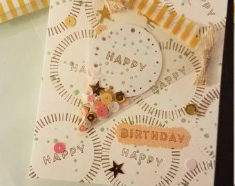 "Hand made ""Happy Birthday"" Banner Card"