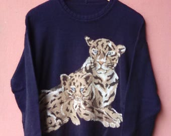 Vintage KRIZIA TIGER EMBROID Knitwear Rare