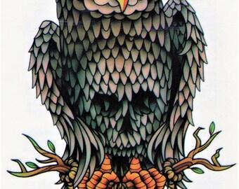 OWL feather bird Klug Temporary temporary adhesive once tattoo 15 x 21 cm XD165