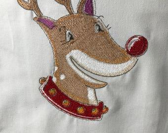 Reindeer Head Smiling Tea Towel