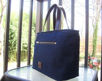 Small Denim Satchel_Brown leather trim