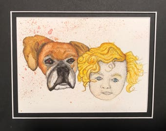 Watercolor Dog and Girl with Ink Stippling
