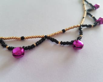 Black & Gold Seed Bead Anklet with Pink Bells