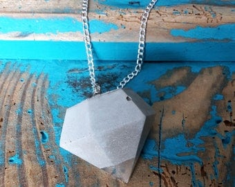 Necklace with diamond pendant made of concrete with ornaments in gold, copper or silver