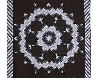 Split Star Midnight King Queen Amish Quilt 101x109