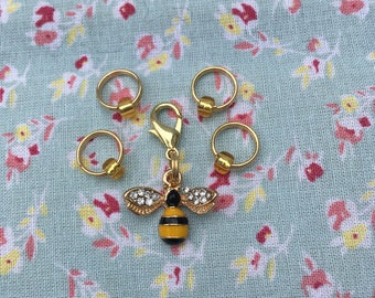 Set of 4 Stitch Markers and 1 Bee Progress Keeper