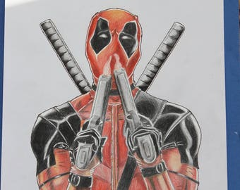 Original DIN A4 deadpool drawing pencil, coloured pencil & gel liner